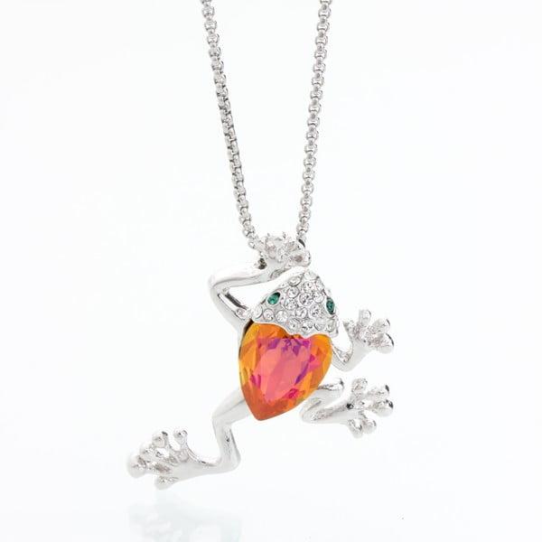 Náhrdelník so Swarovski Elements, oranžová žaba