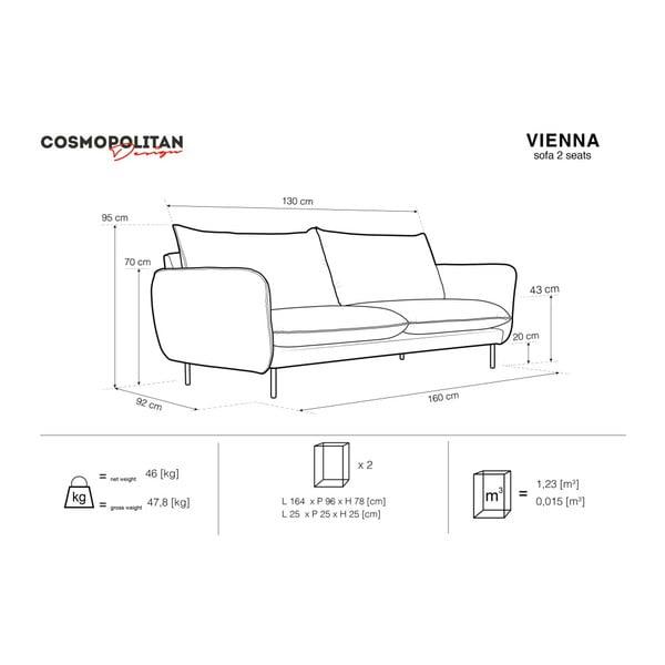 Svetlosivá dvojmiestna pohovka Cosmopolitan Design Vienna