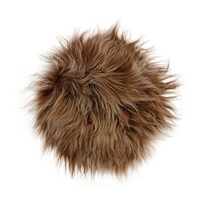 Hnedý kožušinový podsedák s dlhým vlasom, Ø 35 cm