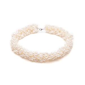 Náhrdelník z riečnych periel GemSeller Twist, biele perly
