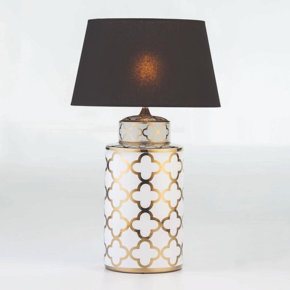 Keramická stolová lampa so vzorom v zlatej farbe bez tienidla Thai Natura, výška 51 cm