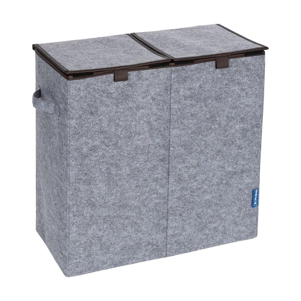 Sivohnedý dvojitý kôš na prádlo Wenko Duo, 82 l