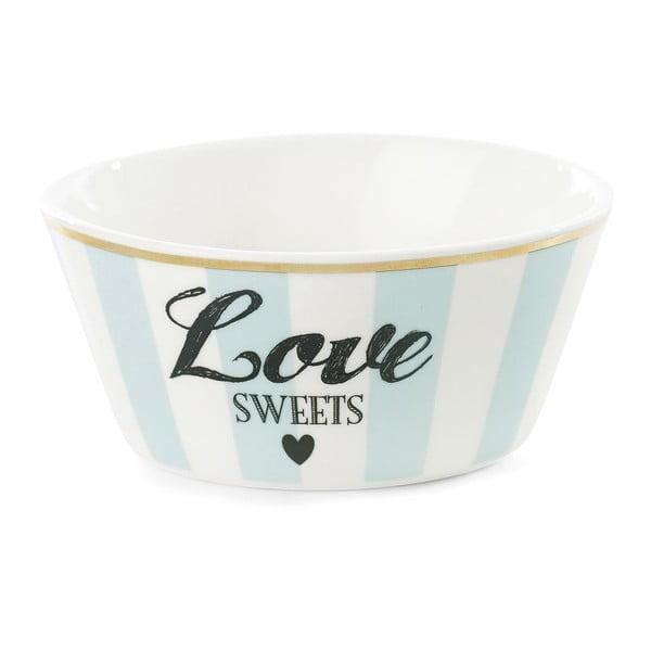 Keramická miska Miss Étoile Love Sweets Stripe Turquoise