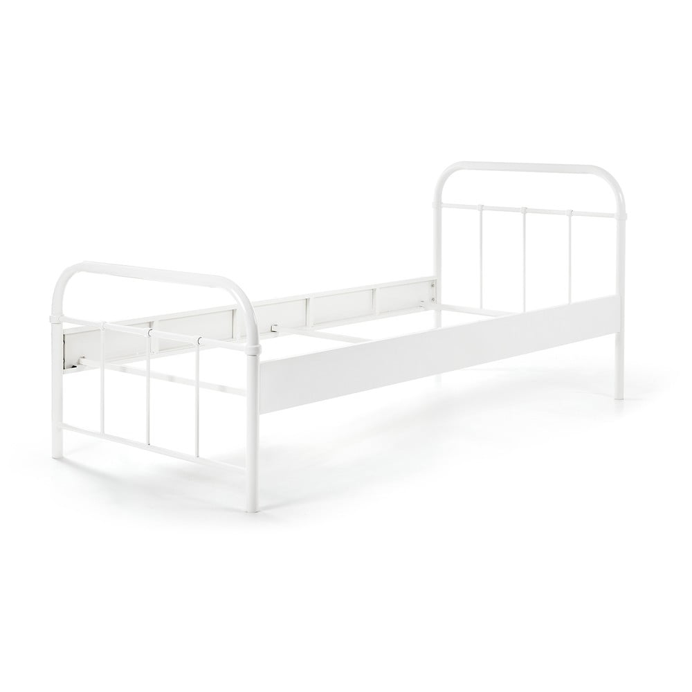 Biela kovová detská posteľ Vipack Boston, 90 × 200 cm