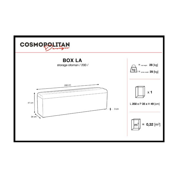Tmavomodrý otoman s úložným priestorom Cosmopolitan Design LA, 200 x 47 cm