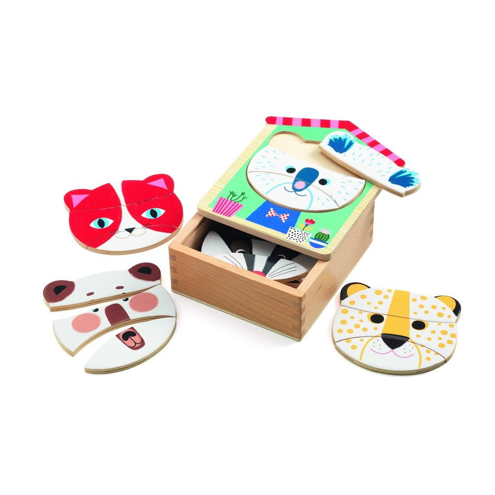 Detské drevené puzzle v škatuľke Djeco