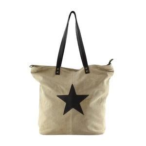 Sivobéžová kožená kabelka Chicca Borse Asterisco