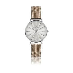 Dámske hodinky s remienkom z antikoro ocele v striebornej a zlatoružovej farbe Frederic Graff Monte