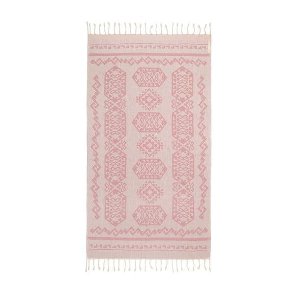Ružová hammam osuška Begonville Ottoman, 95x175cm