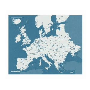 Modrá nástenná mapa Európy Palomar Pin World, 100 x 80cm