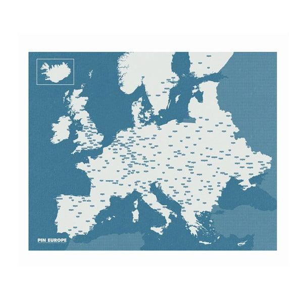Modrá nástenná mapa Európy Palomar Pin World, 100×80cm