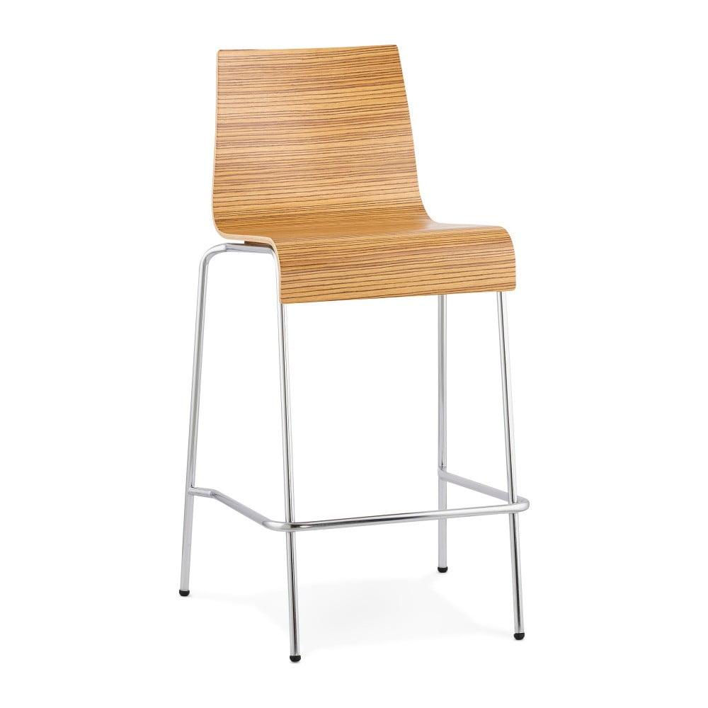 Barová stolička so sdadlom v dekóre svetlého dreva Kokoon Cobe Zebrano, výška 74 cm