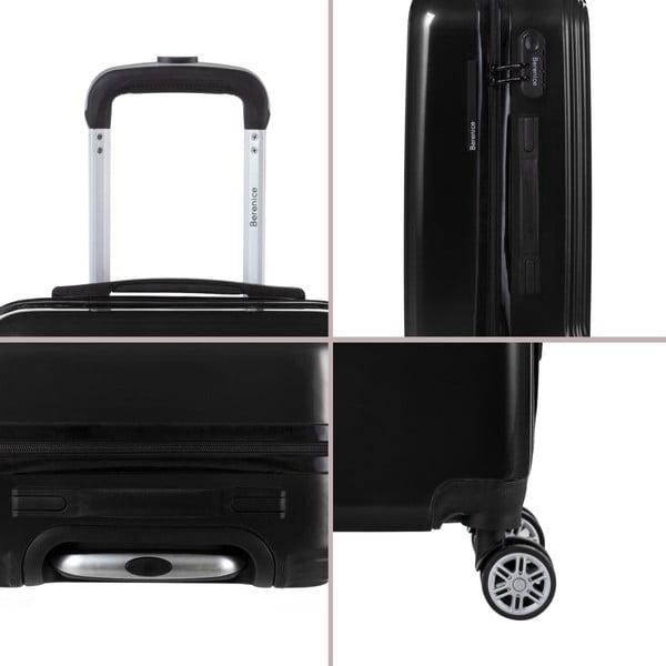 Čierny cestovný kufor so sadou nálepiek Berenice Stickers, 107 l
