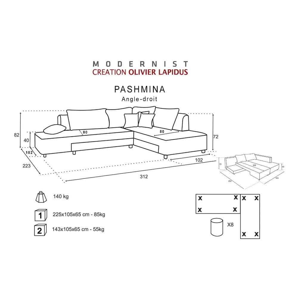 siv rozkladacia pohovka modernist pashmina prav roh bonami. Black Bedroom Furniture Sets. Home Design Ideas