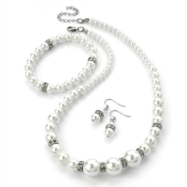 Sada náhrdelníkov, náramkov a náušníc Pearl White
