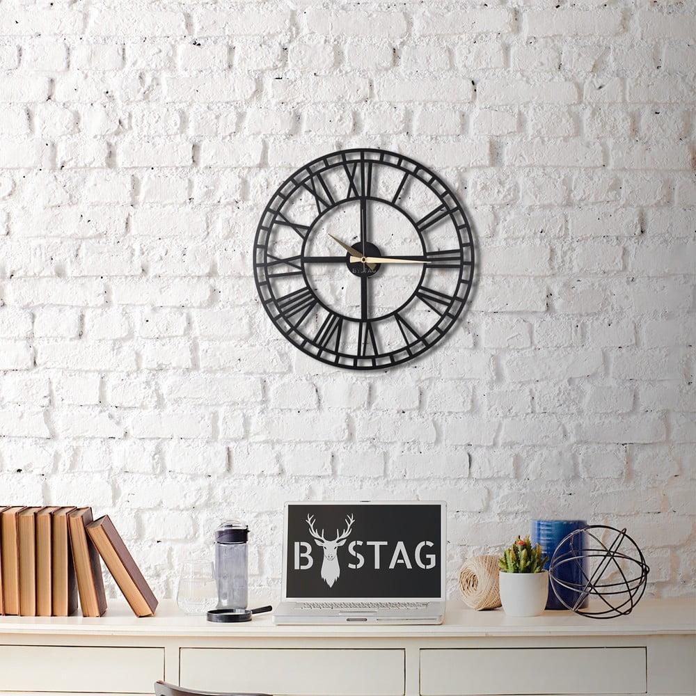 Čierne nástenné hodiny Greece, 50 × 50 cm