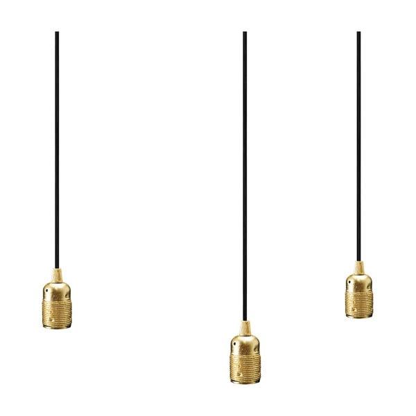 Trojica čiernych závesných káblov s objímkami v zlatej farbe Bulb Attack Uno