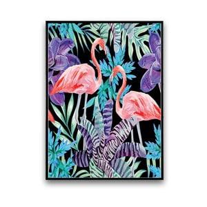 Plagát s pelikánmi a kvetmi, čierne pozadie, 30 x 40 cm