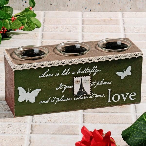 Drevený svietnik Butterfly Love