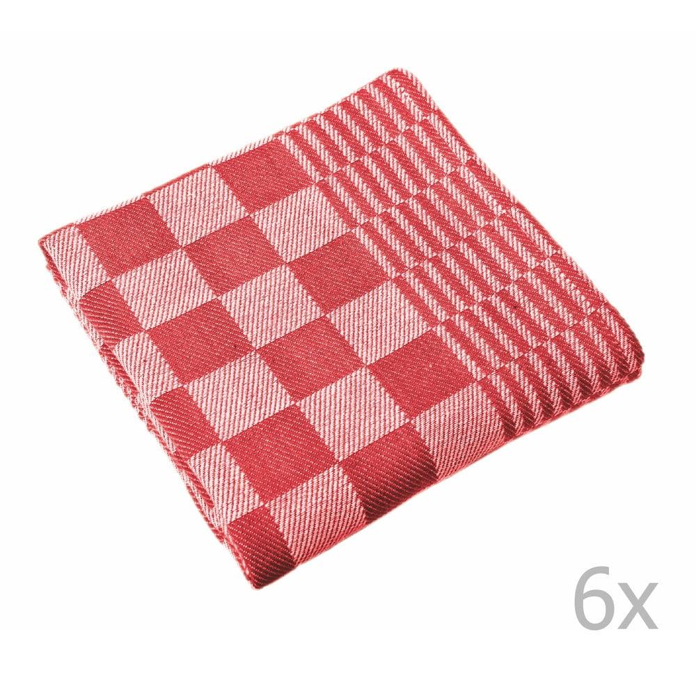 Sada 6 červených utierok Tiseco Home Studio Mineur, 65 × 65 cm