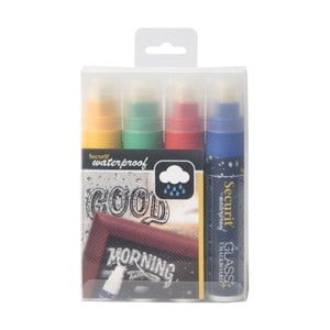 Sada 4 vodoodolných kriedových fixiek Securit® Large Waterproof Chalkmarker Coloured