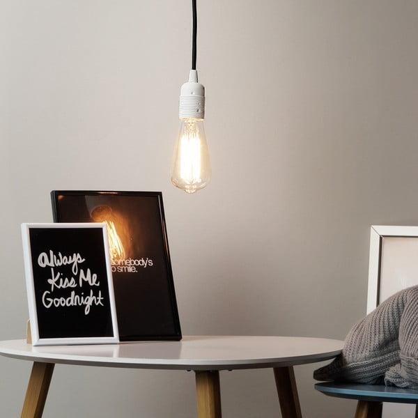 Závesné svietidlo s čiernym káblom a striebornou objímkou Bulb Attack Cero