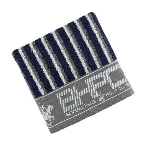 Sivo-modrý bavlnený uterák BHPC, 50x100cm