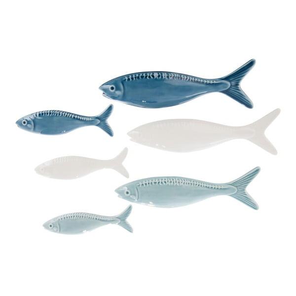Sada 3 keramických dekorácií Fish Blue, 21x7 cm