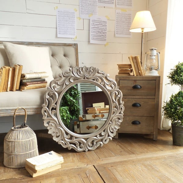 Zrkadlo s rámom z mangového dreva Orchidea Milano Sassari Natural Grey