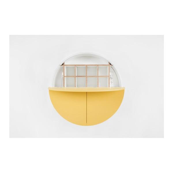 Žlto-biely multifunkčný nástenný stôl EMKO Pill