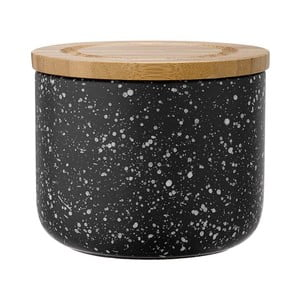 Čierna keramická dóza s bambusovým vekom Ladelle Speckle, výška9 cm