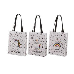 Sada 3 bavlnených tašiek s rôznou potlačou Unimasa Fancy, 30,5 x 38,5 cm