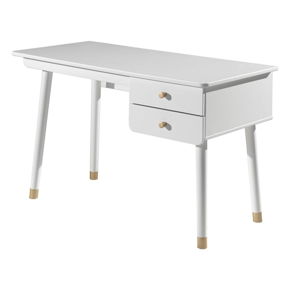 Biely detský pracovný stôl z borovicového dreva Vipack Billy