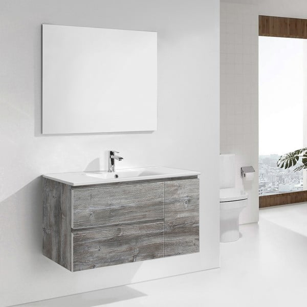 Kúpeľňová skrinka s umývadlom a zrkadlom Happy, vintage dekor, 100 cm