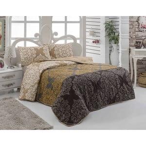 Prikrývka na posteľ a obliečka na vankúš Minerva Brown, 160x220 cm
