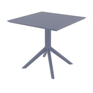 Tmavosivý záhradný jedálenský stôl Resol Sky, 80 × 80 cm