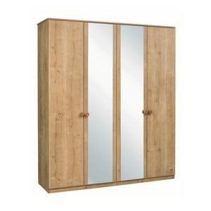 Šatníková skriňa s 2 zrkadlami Mocha 4 Doors Wardrobe
