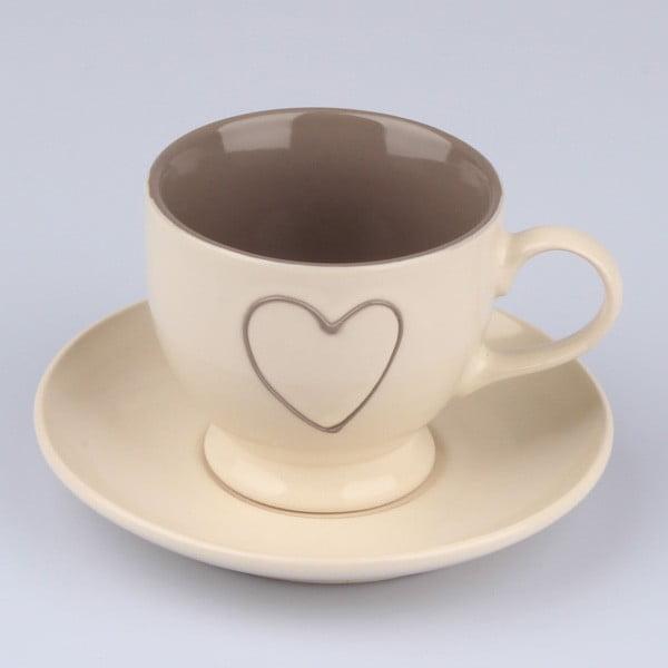 Ručne zdobený béžový keramický hrnček s tanierikom Dakls Heart Light, 0,2 l