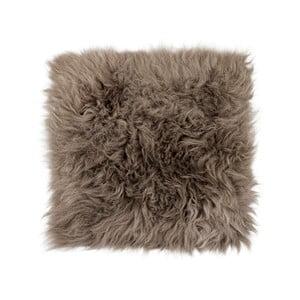 Sivohnedý podsedák z ovčej kožušiny s dlhým vlasom Arctic Fur Milo, 37 × 37 cm