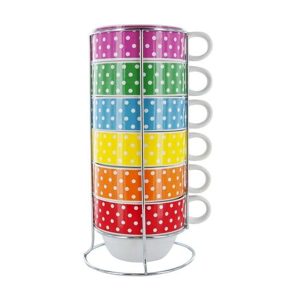 Sada 6 hrnčekov so stojanom Café Latte Mini Dots
