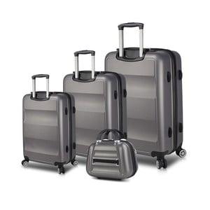 Sada 3 sivých cestovných kufrov na kolieskach s USB porty a príručného kufríka My Valice LASSO Travel Set