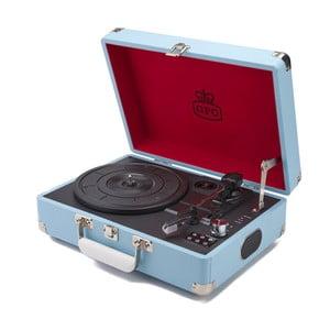 Svetlomodrý gramofón s rádiom GPO Attache Blue