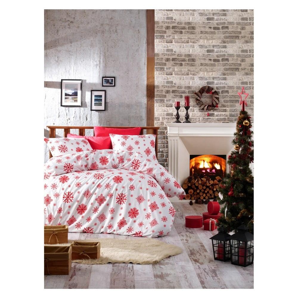 Vianočné bavlnené obliečky na dvojlôžko s plachtou Rina, 200 × 220 cm