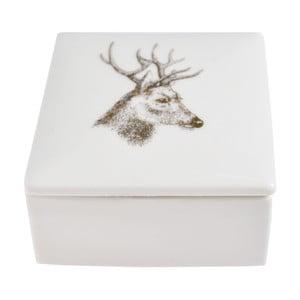 Biela keramická škatuľka na šperky Ewax Deer, 7 × 7 cm