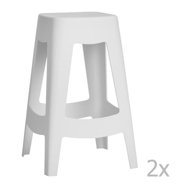 Sada 2 barových stoličiek D2 Tower, biela