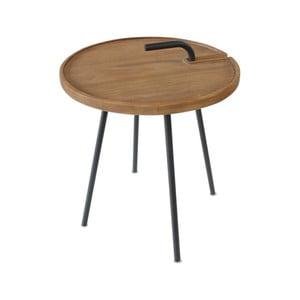 Odkladací stolík s doskou z teakového dreva Miloo Home Lindo, ⌀ 42 cm