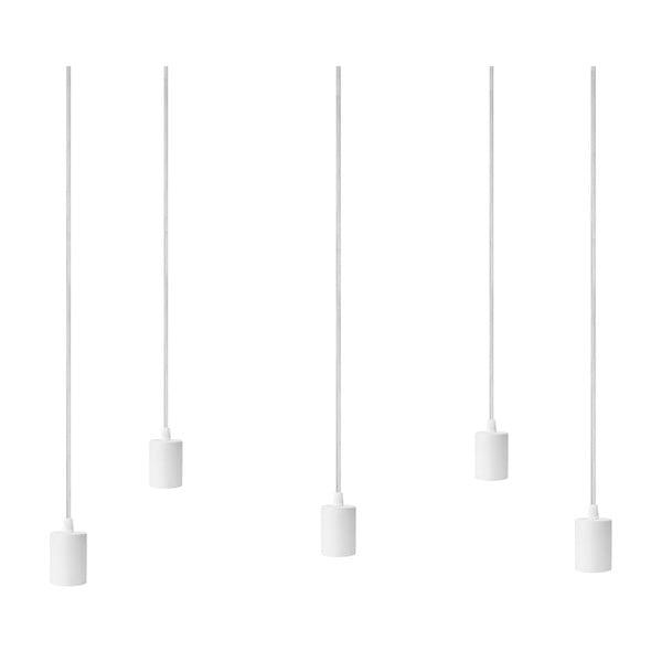 Závesné svietidlo s 5 bielymi káblami a bielou objímkou Bulb Attack Cero