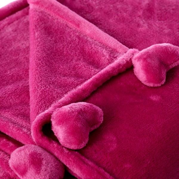Ružová deka Unimasa Heart, 130 x 160 cm