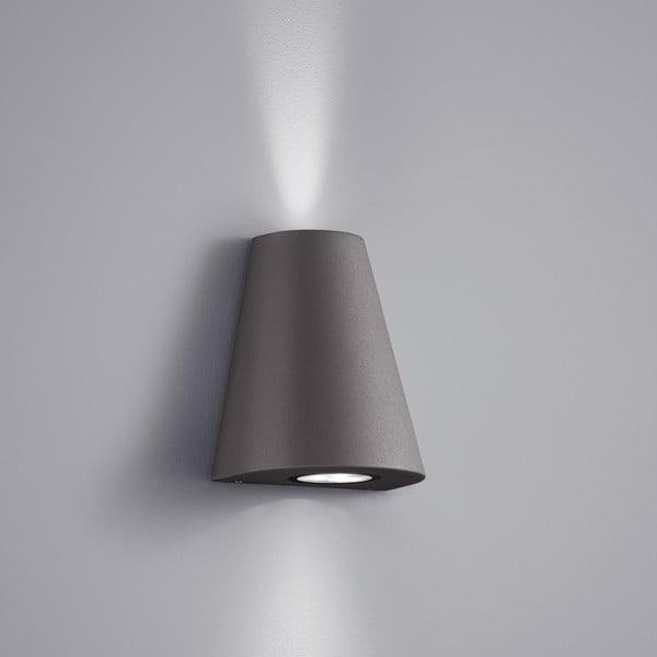 Sivé vonkajšie nástenné svetlo Trio Niagara, výška 17 cm