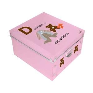 Ružový úložný box Incidence ABC, 32 x 32 cm